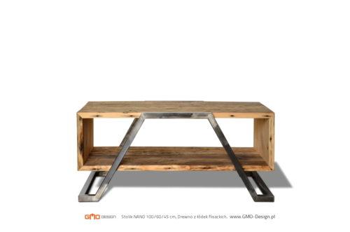 stolik do salonu, drewno z odzysku, rama stalowa