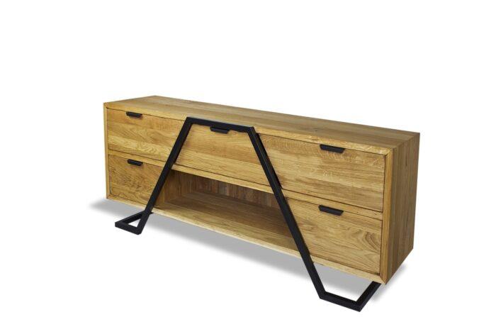 Prosta komoda z ramą ze stali malowanej proszkowo. Mebel idealny do salonu jak i do biura czy jadalni.
