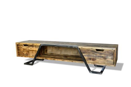 Retro, industrialna szafka TV. Rama ze stali, piękne i ergonomiczne szuflady. Cichy domyk.