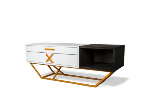 Pomarańczowa rama malowana proszkowo, półki z drewna - szafka RTV.