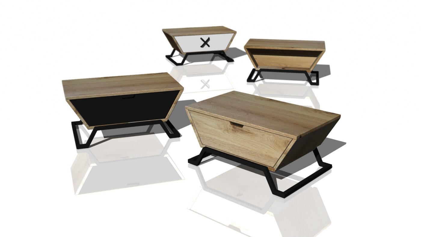 stolik z litego drewna z szufladą do salonu